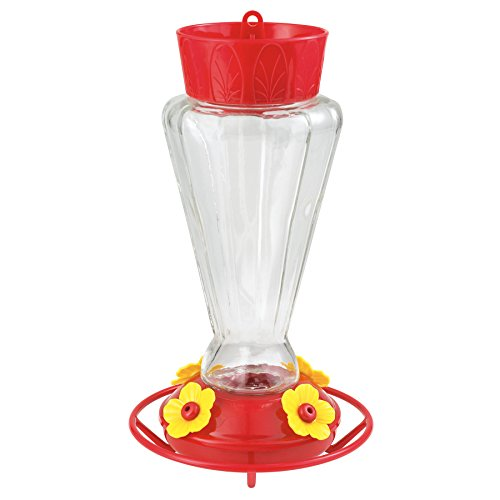 More Birds Hummingbird Feeder, Glass Hummingbird Feeders, Red, 4 Feeding Stations, 28-Ounce Nectar Capacity, (Royal Bird Feeder)