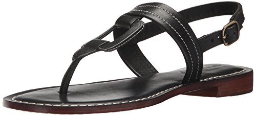 Bernardo Women's Tegan Flat Sandal, Black Antique Calf, 7M M US