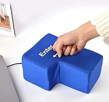 LINSUNG Incassable Relax Entrez la touche Oreiller de bureau pour bureau Enter Key Pillow Big USB Enter Button Outils de ventilation anti-stress Black