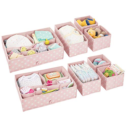 mDesign Soft Fabric Dresser Drawer and Closet Storage Organizer Set for Child/Kids Room, Nursery - Includes Large and Small Organizers - Polka Dot Pattern - Set of 8 - Pink/White -