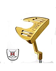 CRESTGOLF Golfputter för män eller kvinnor, högerhänta stort handtag putter med siktlinje, längd ca 80 cm, gyllene och blå