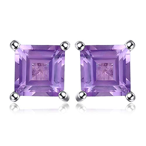 Jewelrypalace Gemstones Stone Birthstone Natural Amethyst Stud Earrings For Women 925 Sterling Silver Earrings For Girls ()