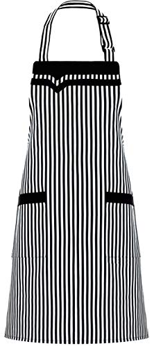 ALIPOBO Chef Bib Aprons for Women, Kitchen Cooking Apron with 2 Pockets, Adjustable Neck Strap and 30'' Long Ties, Perfect for Baking, Gardening, Black/White Stripe  ()