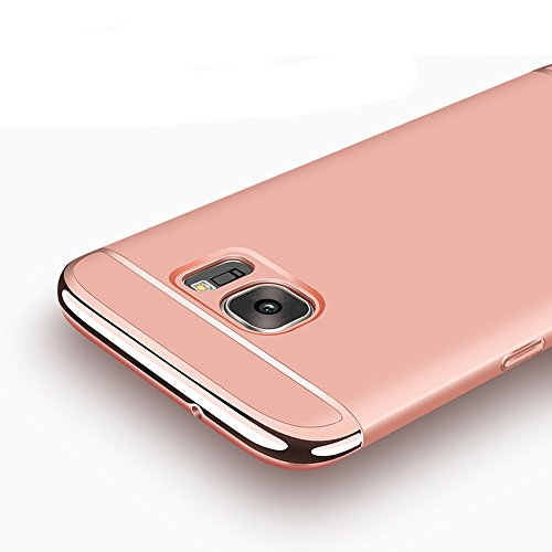 Galaxy S6 Edge Case, Ranyi [3 in 1 Hybrid] [Anti-slip] [Metal Texture] Luxury Electroplated Painting Bumper + Matte Hard Back Cover Case for Samsung Galaxy S6 Edge (2015 release), rose gold ()