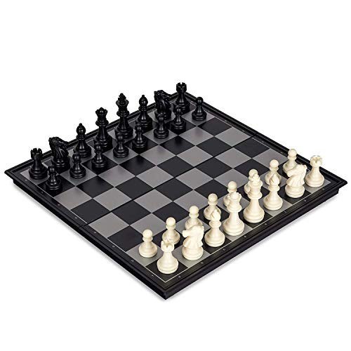 (Magnetic Chess Sets - Magnetic International Chess Sets Travel Game Sets Portable Folding Board with Plastic Filled Chess Pieces Educational Learning Toys for Adults Kids (12