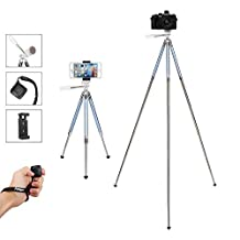 Tripie, Tripie Celular, Fotopro 39.5 Pulgadas con Control Remoto Bluetooth y Smartphone Clip Mount Apto para el Disparo Exterior, Viaje o Youtobe Video Making, etc, Azul