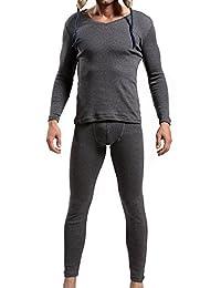 Godsen Mens V-Neck Thermal Underwear Sets Long Johns Tops & Bottoms