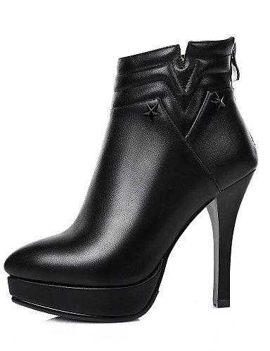 Negro us8 Fiesta De Xzz Uk6 Y Vestido Tacón Eu39 Cn39 Black Zapatos Semicuero Noche Botas Stiletto A Moda La Mujer aqwR1