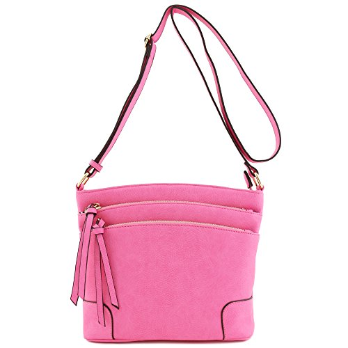 Triple Crossbody Bag Pocket Zipper Pink Medium pqvtpwr