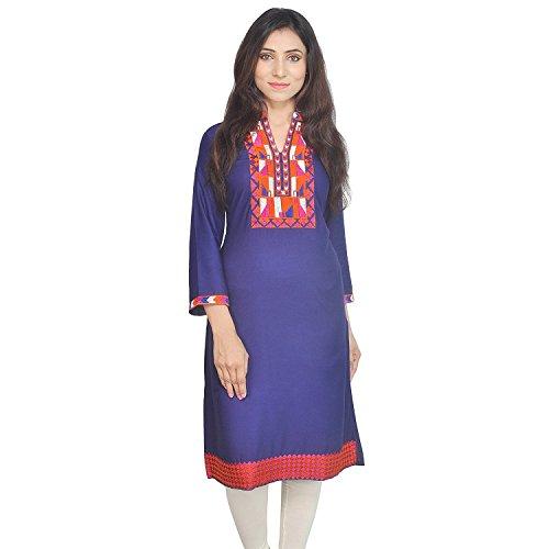 Chichi Indian Women Kurta Kurti 3/4 Sleeve XX-Large Size Plain with Jaipuri Embroidered Straight Royal Blue Top by CHI