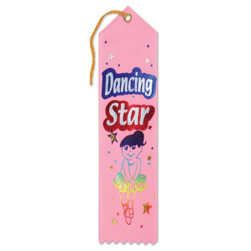 Beistle AR064 Dancing Star Award Ribbons, 2 by 8-Inch, 6-Pack