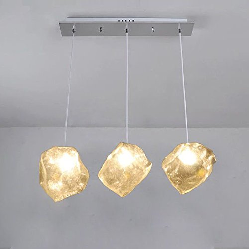 Modern creative Glass ice Cube Bar Counter chandelier contracted fashion restaurant Dining room corridor droplight Ceiling Pendant Lights (3 Heads)