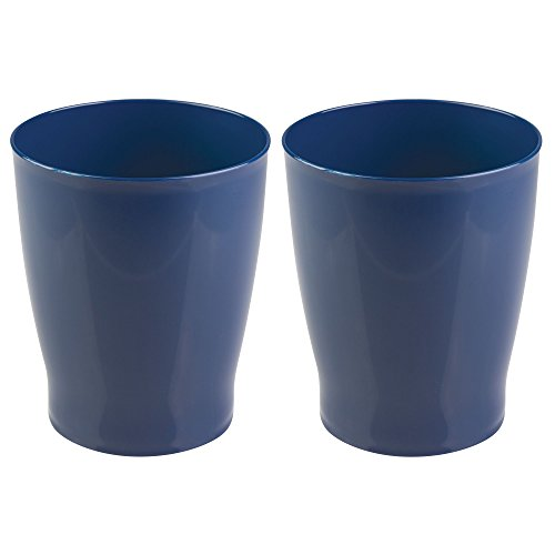 mDesign Slim Round Plastic Small Trash Can Wastebasket, Garbage Container Bin for Bathrooms, Powder Rooms, Kitchens, Home Offices, Kids Rooms - Pack of 2, Navy Blue by mDesign