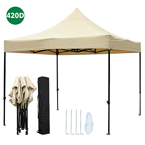 kdgarden 10 ft. x 10 ft. Outdoor Easy Pop Up Canopy with 420D Waterproof and UV-Treated Top, Portable Party Shelter Tent with Carrying Bag, Khaki
