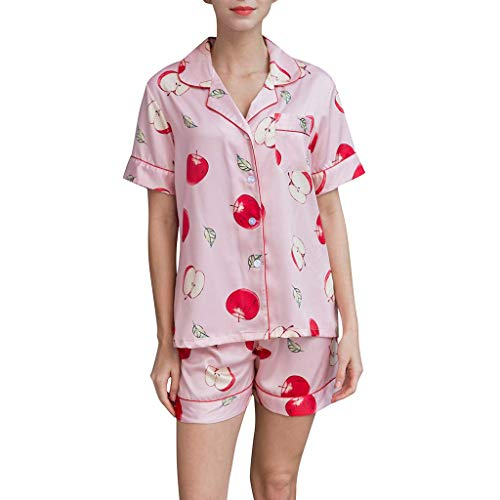 (ALLYOUNG Women's Babydoll Lingerie Cute Cartoon Print Tee and Shorts Pajama Set (Pink A, M))