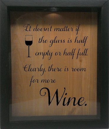 UPC 682384998328, Wooden Shadow Box Wine Cork/Bottle Cap Holder 9x11 - It Doesn't Matter If The Glass Is Half Empty (Ebony w/Black)