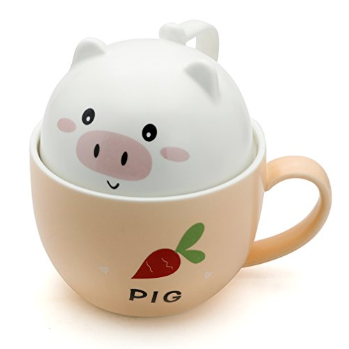 Teagas Cute Funny Ceramic Pig Coffee Mug Cup, Perfect Gift for Friend Children Cousins