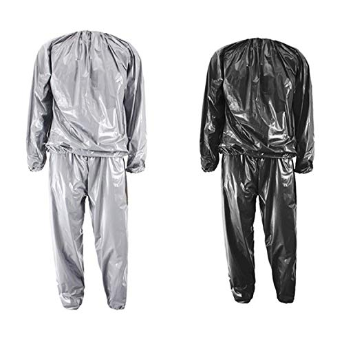 sandywident Heavy Duty Fitness Weight Loss Sweat Sauna Suit Exercise Gym Anti-Rip Black,4XL