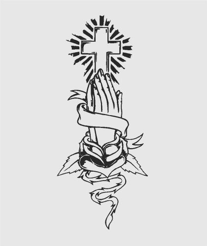 Top Selling Decals - Prices Reduced : Holy Cross and Prayer Hand bound with Ribbon and Plant Vines Religious Christian Faith Pledge of Promise Graphic Mural Picture Art Home Decor - Size : 8 Inches X 24 Inches - Vinyl Wall Sticker - 22 Colors Available
