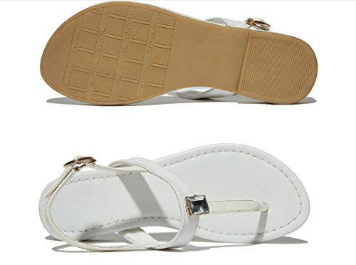 Bottom Shopping Plage Ladies Étudiants Confortable Loisirs Noir Flat Sandals Leather Blanc xie Summer 0wvzwU