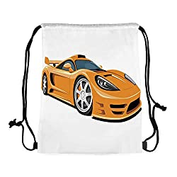 Cars Canvas Drawstring Bag,Orange Sports Car Fast Racing Roadster Modern Automotive Technology Decorative for Travel Shopping,One_Size