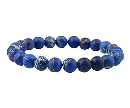 Beaded Elastic - Candyfancy 8mm Natural Blue Sea Sediment Jasper Beads Stone Healing Elastic Beaded Stretch Bracelets for Women Men DIY Spiritual Bracelet for 6-6.8Inch Wrist (Blue Sea Sediment Jasper)