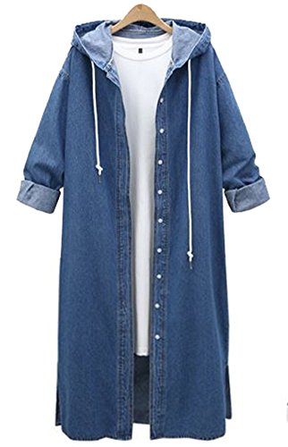 QZUnique Women's Long Denim Coat With Hood Long Sleeve Windbreaker Plus Size Jean Jacket Outwear Dark Blue US - Shipping Time International