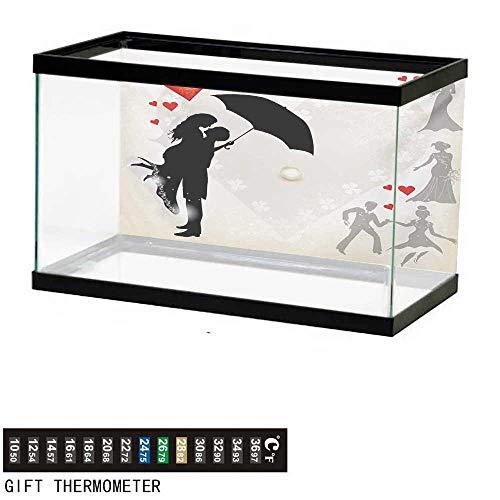 (wwwhsl Aquarium Background,Wedding,Couple in Love Valentines Umbrella Hearts Daisies Romance in Air Celebration,Black White Red Fish Tank Backdrop 24