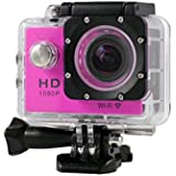 New HOT WIFI 1080P HD Action Sports Camera Built-in microphone ,Tuscom Waterproof-30M, Action Camera (2.0 Inch Ultra HD Screen)Camcorder HD 1080P Mini DV Pro Camcorder (Hot Pink)