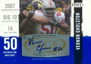 Autograph Warehouse 99820 Vernon Gholston Autographed Football Card Ohio State 2008 Sage Hit Rookie No. A50 ()