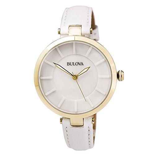 Bulova Dress White Dial White Leather Ladies Watch 97L140