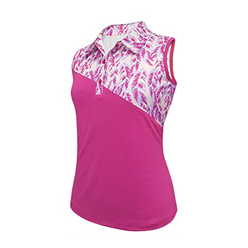(Monterey Club Ladies Dry Swing Feather Color Contrast Sleeveless Shirt #2375 (Very Berry/Pastel Lilac, X-Large))