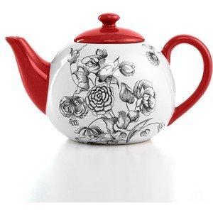 Red Toile Teapot - Certified International Drinkware, Toile Teapot