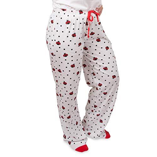 Pavilion Gift Company Izzy & Owie - Ladybug - Patterned Adult Lounge Pajama Pants - Unisex Extra Large - Ladybug Polka Dot White
