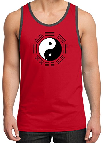 Mens YIN YANG Trigrams Tank Top, 4XL New Red