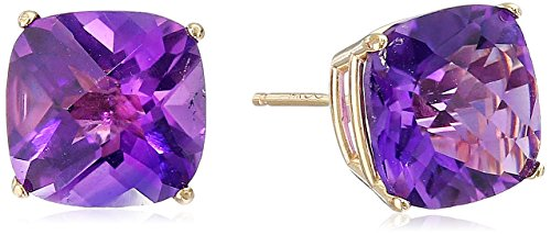 14k Yellow Gold Cushion-Cut Checkerboard Amethyst Stud Earrings (8mm) ()