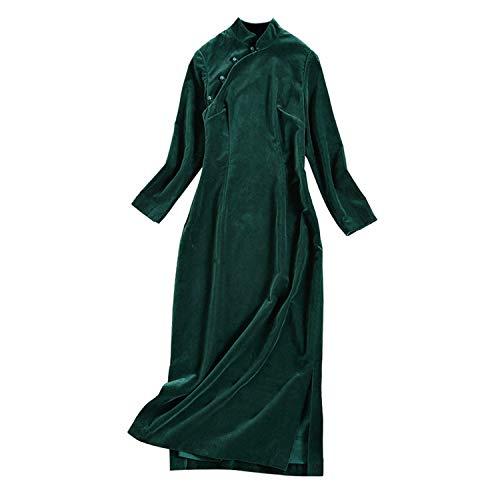 DînerFêteVert Long Robe Pour Xcxdx Cheongsam Femmes Foncé Rétro Automne Hiver FKcTl1J