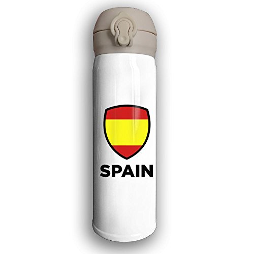 Stainless Water Bottle 500ML Designed Spain Emblem Big 1 (3c),Sports Drinking Bottle,Leak-Proof Vaccum Cup,Travel Mug,With Bounce Cover,White by Cuphome