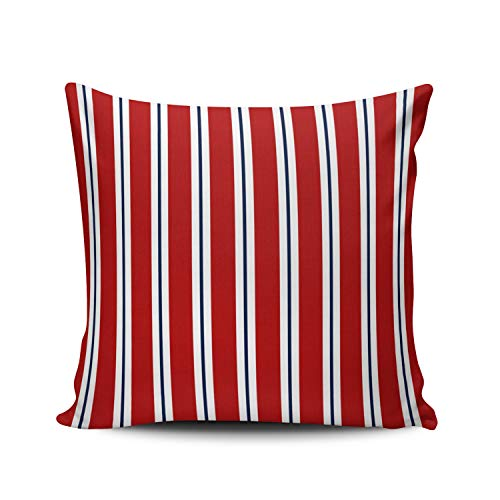 MUKPU Fashion Home Decoration Design Throw Pillow Case Nautical Blue Red White Striped 24X24 Inch Square Custom Pillowcase Cushion Cover Double Sided Printed (Set of 1)
