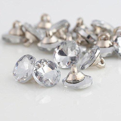 CraftbuddyUS CDB01-8CL CLEAR 20pcsx8mm Round Crystal Diamante Faceted Crystal Diamante (Clear Round Buttons)