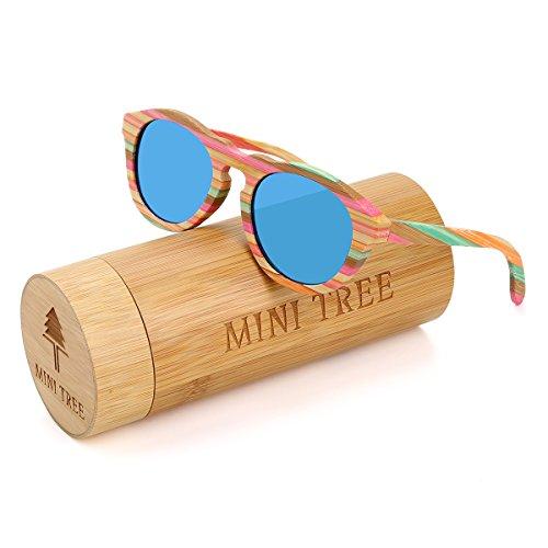Blue Bamboo Tree (Mini Tree Polarized Bamboo Sunglasses Wayfarer Glasses With Colorful lines (Blue, 1.96))