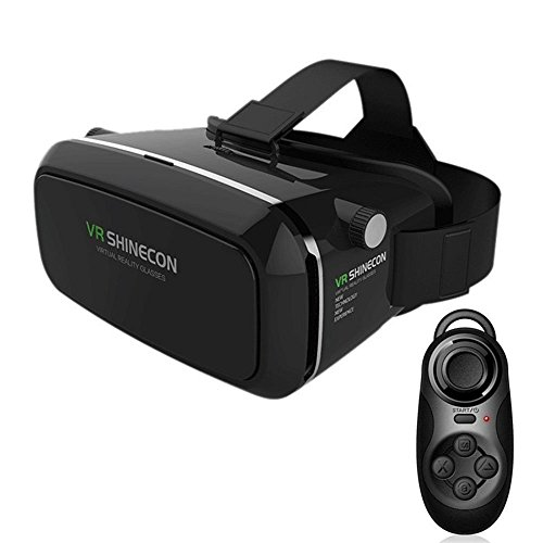 LUCINE 9764554 3D VR Virtual Reality Glasses Headset Suitable for Google, iPhone, Samsung Note, LG, Huawei, HTC Smartphone for 3D Movies and Games with Remote Controller - Black