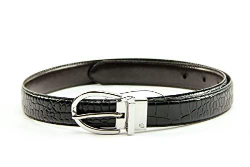 Ralph Lauren Croc (Lauren Ralph Lauren Women's Croc to Smooth Reversible Belt Black / Brown Size)