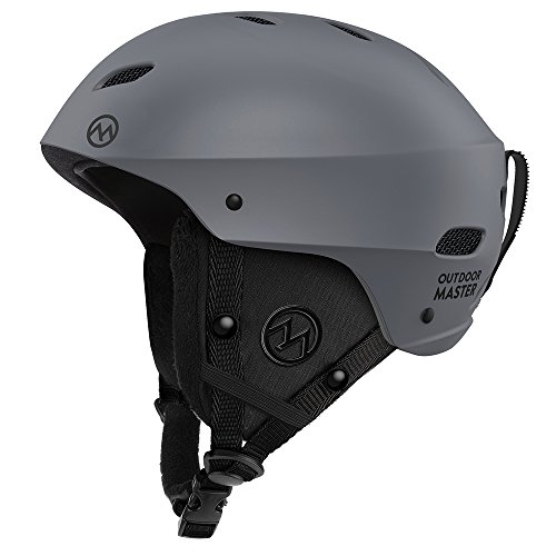 (OutdoorMaster Ski Helmet - with ASTM Certified Safety, 9 Options - for Men, Women & Youth (Gray,L))