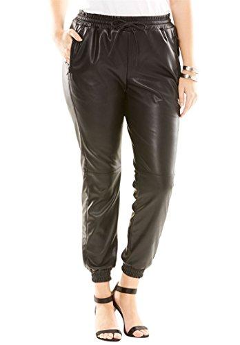Roamans Women's Plus Size Faux Leather Track Pants Black,22 W