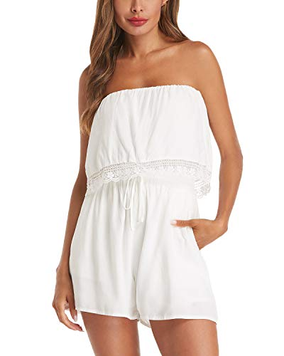 (Auxo Womens Romper Short Summer Off Shoulder Lace Crochet Jumper One Piece Jumpsuit Playsuit 06-White M)