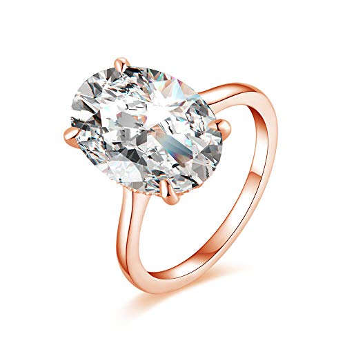 Erllo 10x14mm Oval Cut 5 Carat Cubic Zirconia CZ Halo Solitaire Engagement Wedding Rings for Women 925 Sterling Silver (Rose Gold Color, 5)