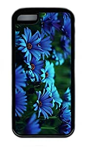 iPhone 5C Case, Personalized Protective Rubber Soft TPU Black Edge Case for iphone 5C - Blue Flowers Cover by mcsharks