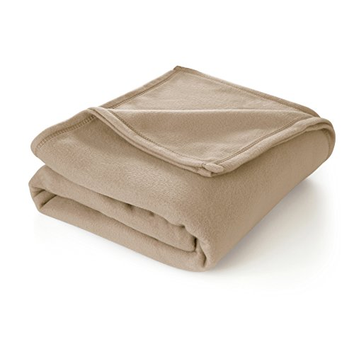 Martex Super Soft Fleece Blanket - Full/Queen, Warm, Lightweight, Pet-Friendly, Throw for Home Bed, Sofa & Dorm - Linen ()