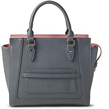 9a05789c6aca Marsi Bond Designer Womens Handbag - Top Handle Vegan Leather Tote Purse -  Grey with Pink Michelle Classic Tote